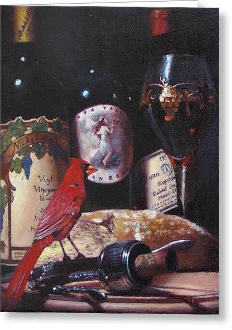 Red Cardinal Red Wine Sin Greeting Card by Takayuki Harada