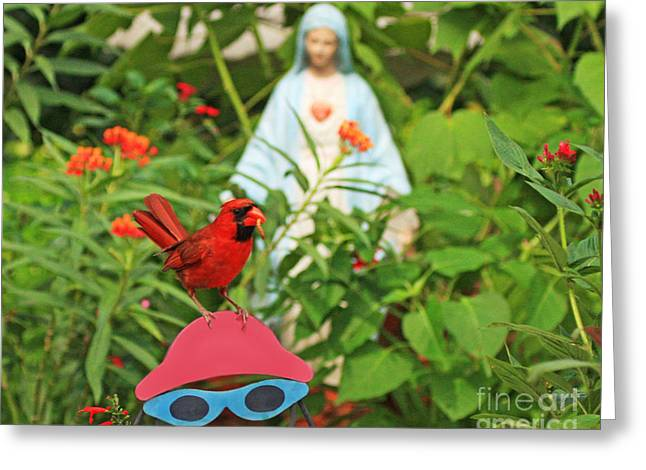 Red Cardinal Thankful For Dinner Greeting Card