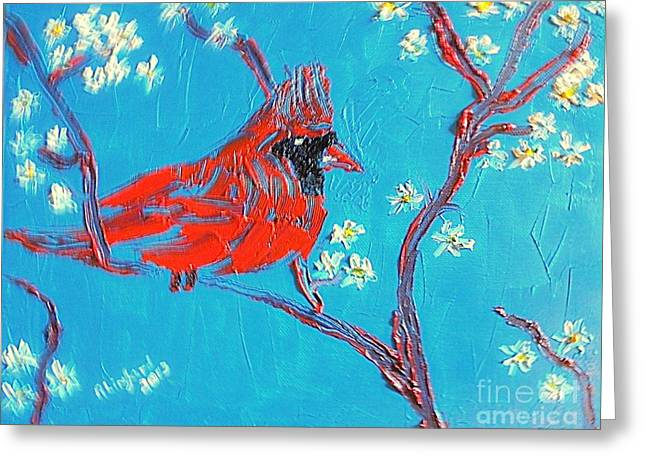 Greeting Card featuring the painting Red Cardinal Spring by Richard W Linford