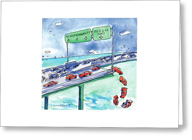 Red Cars Drop Off A Bridge Under A Sign That Says Greeting Card by Michael Crawford