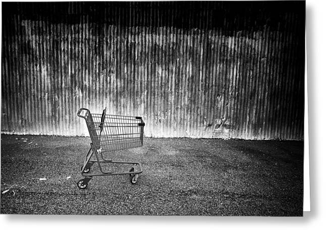 Red Cart Bw Greeting Card by Patrick M Lynch