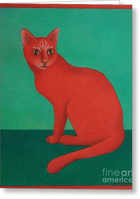 Greeting Card featuring the painting Red Cat by Pamela Clements