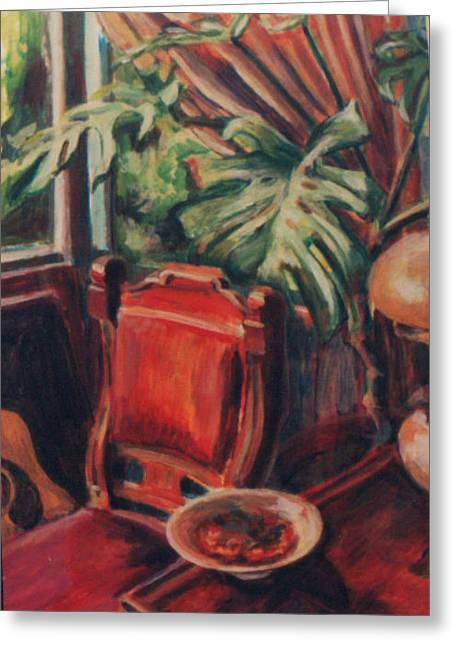 Red Chair In The Window Greeting Card by Ellen Howell