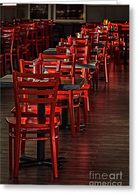 Greeting Card featuring the photograph Red Chairs by Vicki DeVico