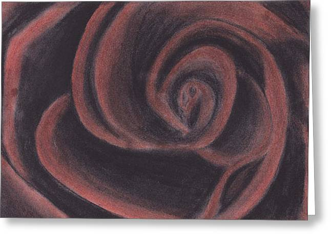 Red Charcoal Rose Greeting Card by Rebecca Schoof