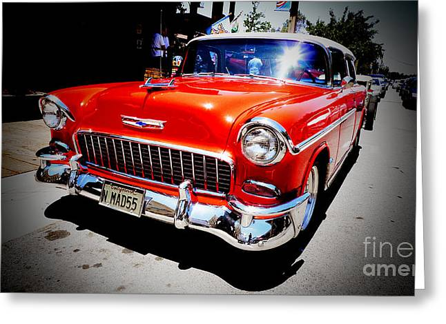 Red Chevrolet Bel Air Greeting Card by Nina Prommer