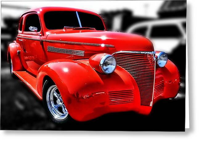 Red Chevy Hot Rod Greeting Card