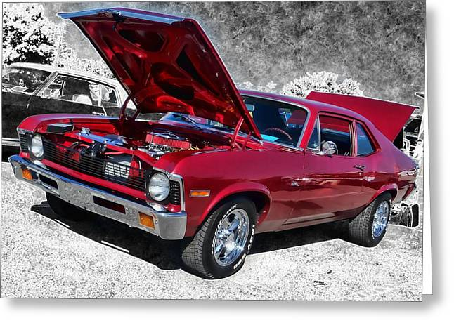 Red Chevy Nova Greeting Card by Victor Montgomery