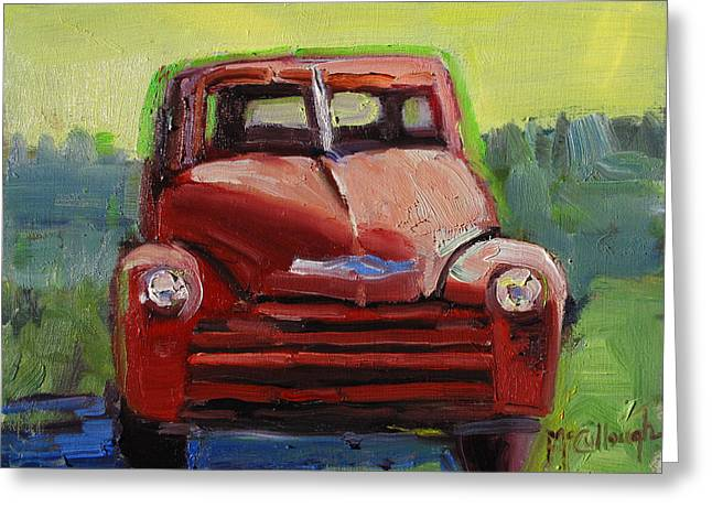 Red Chevy Greeting Card by Susan McCullough