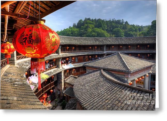Red Chinese Lantern In A Hakka Tulou  Fujian Greeting Card by Fototrav Print