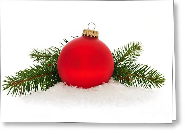 Red Christmas Bauble Greeting Card by Elena Elisseeva