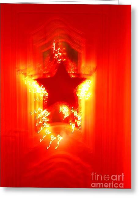 Red Christmas Star Greeting Card by Gaspar Avila