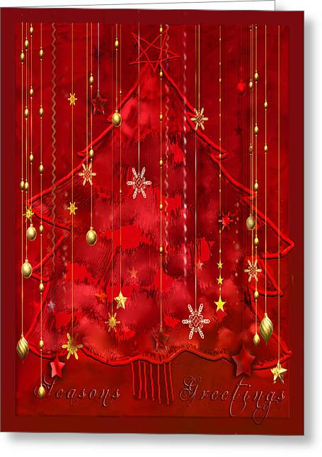 Greeting Card featuring the digital art Red Christmas Tree by Arline Wagner