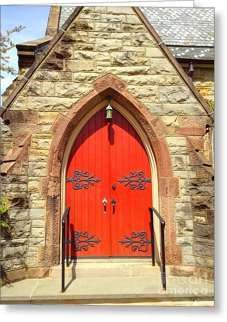 Greeting Card featuring the photograph Red Church Door by Becky Lupe