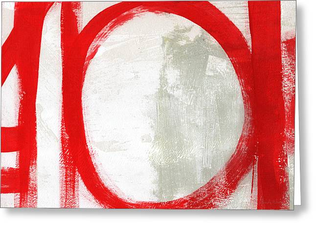 Red Circle 3- Abstract Painting Greeting Card by Linda Woods