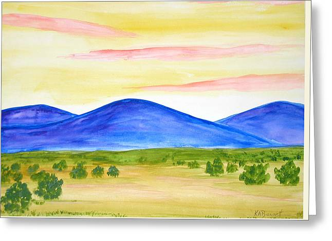 Red Clouds Over Mountains Greeting Card