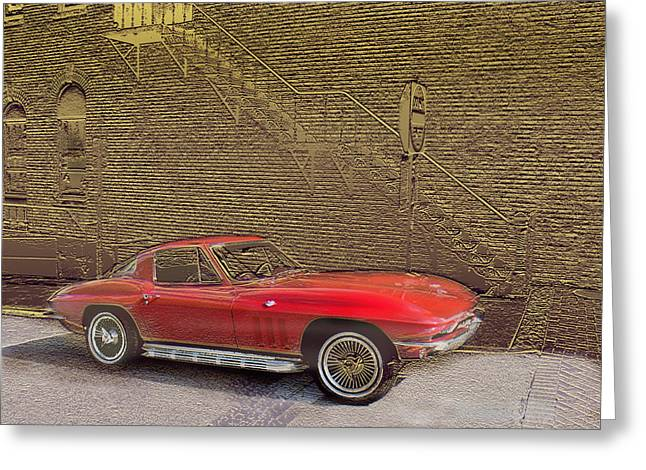 Red Corvette Greeting Card