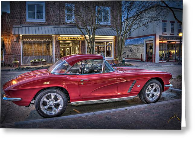 Red Corvette Greeting Card by Williams-Cairns Photography LLC