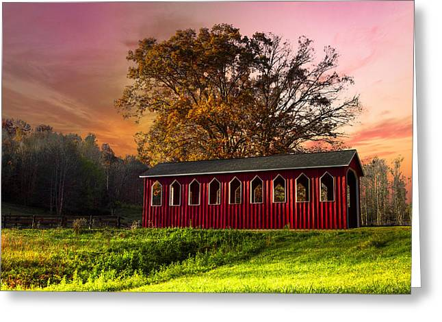 Red Covered Bridge Greeting Card by Debra and Dave Vanderlaan