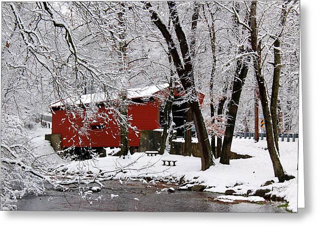 Red Covered Bridge Winter 2013 Greeting Card by Deborah  Crew-Johnson