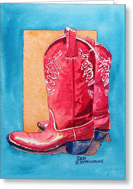 Red Cowgirl Boots Greeting Card by Deb  Harclerode