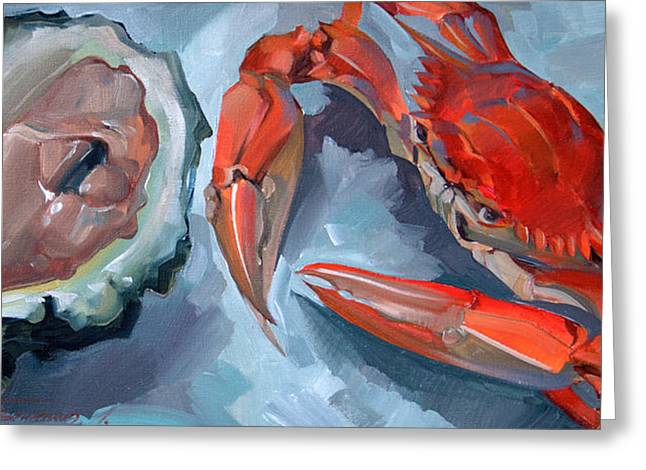 Red Crab And Oyster Painting By Larisa Ivakina Clevenger