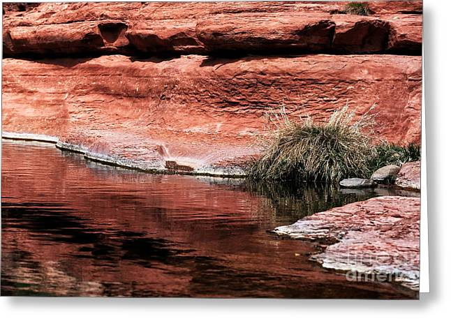 Red Creek Greeting Card by John Rizzuto