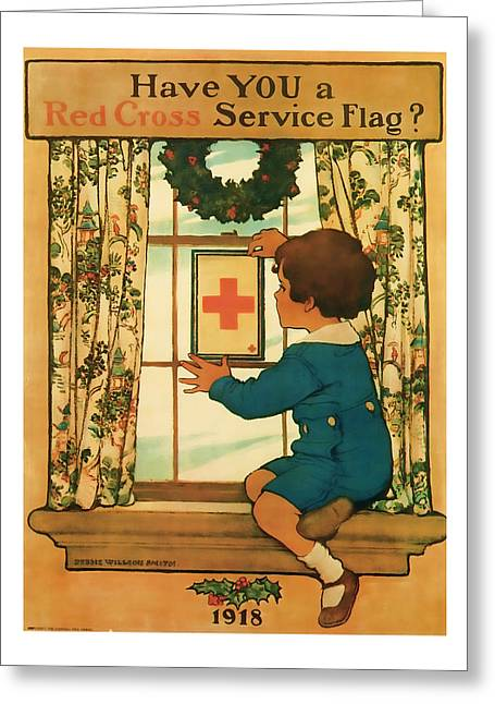 Red Cross Service Flag -- World War 1 Art Greeting Card by Presented By American Classic Art