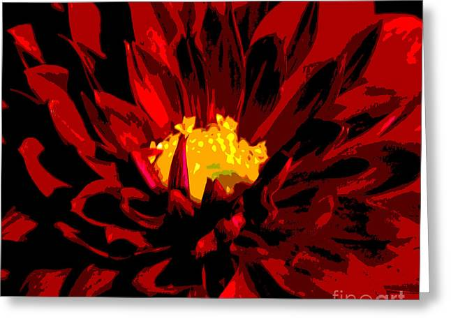Red Dahlia Abstract Greeting Card by Olivia Hardwicke