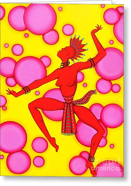 Red Dancer Greeting Card by Joseph Sonday