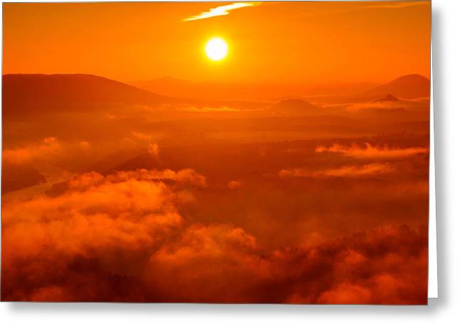 Red Dawn On The Lilienstein Greeting Card