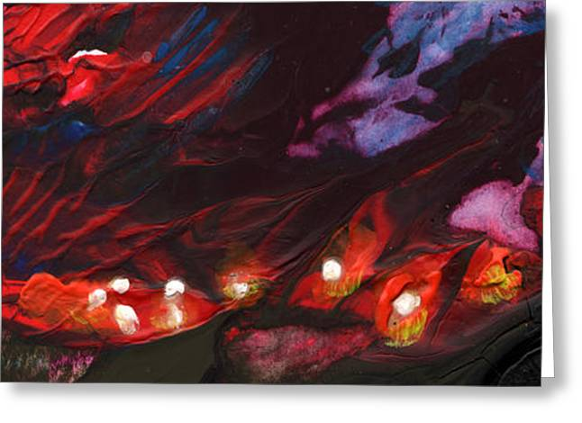 Red Demon With Pearls Greeting Card by Miki De Goodaboom