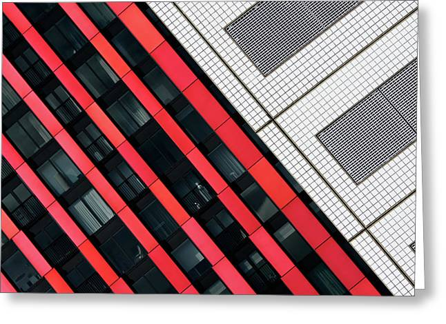 Red Diagonals. Greeting Card