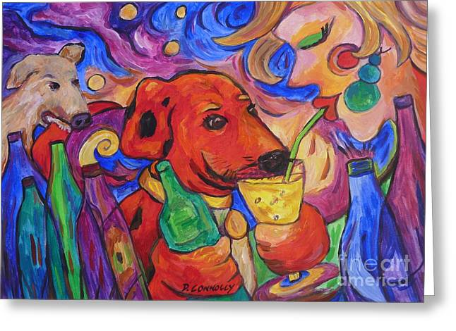 Red Dirk Dog And Rita Drink Greeting Card