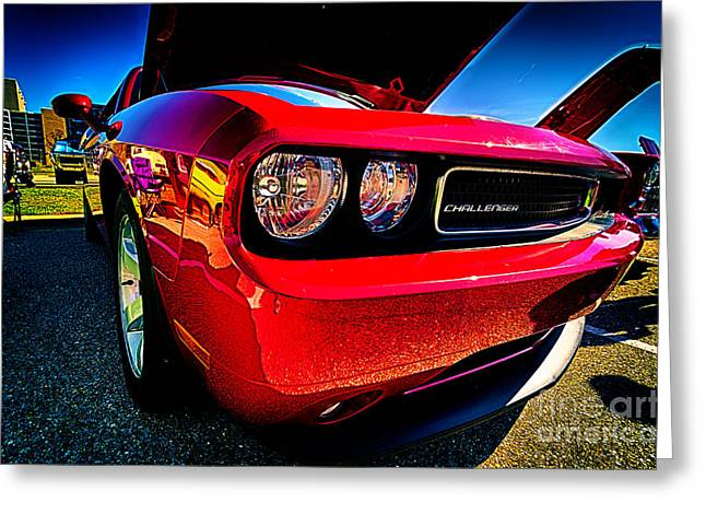 Red Dodge Challenger Vintage Muscle Car Greeting Card