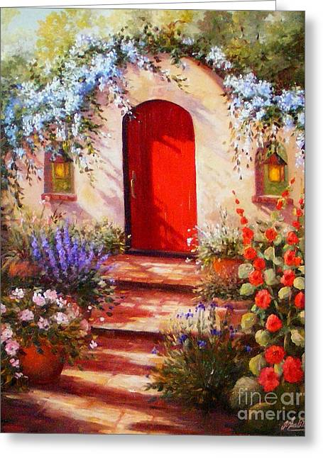 Red Door Greeting Card by Gail Salitui