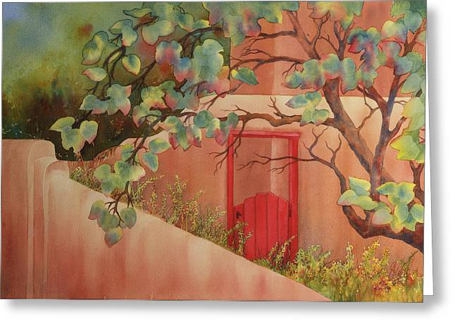 Red Door In Adobe Wall Greeting Card