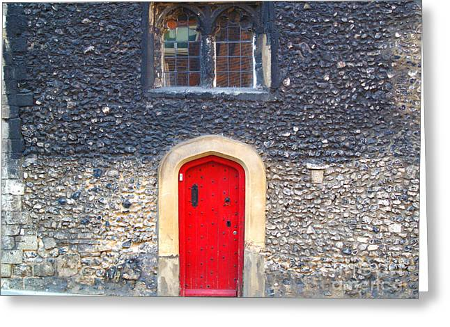 Red Door In Winchester Uk Greeting Card