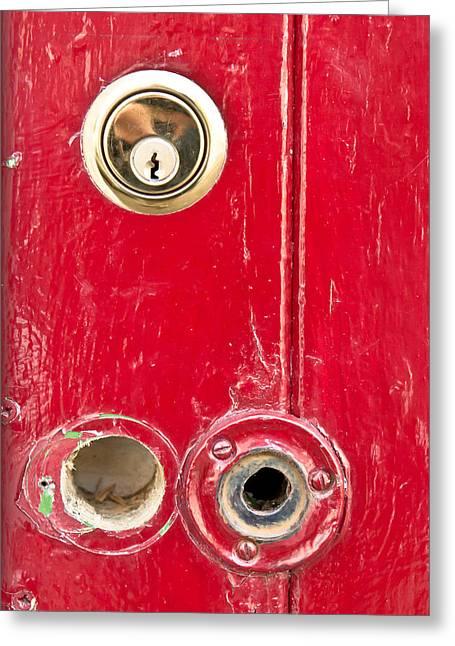 Red Door Lock Greeting Card by Tom Gowanlock