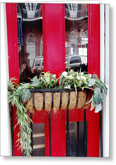 Red Door New Orleans Reflection Greeting Card