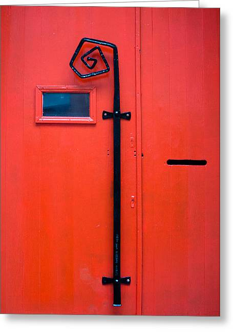 Red Door Greeting Card by Pedro Nunez