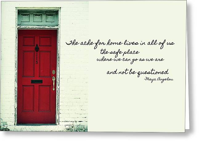 Red Door Quote Greeting Card by JAMART Photography