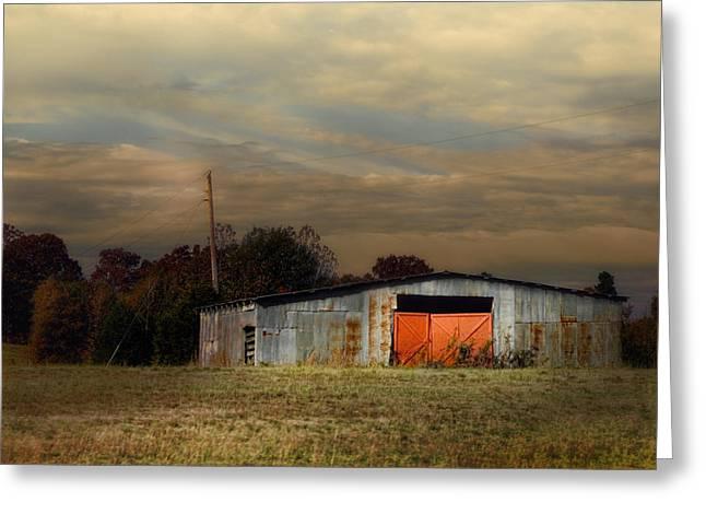 Red Doors - Barn At Sunset Greeting Card by Jai Johnson