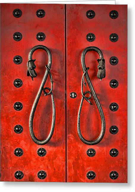 Red Doors Greeting Card by Heather Applegate