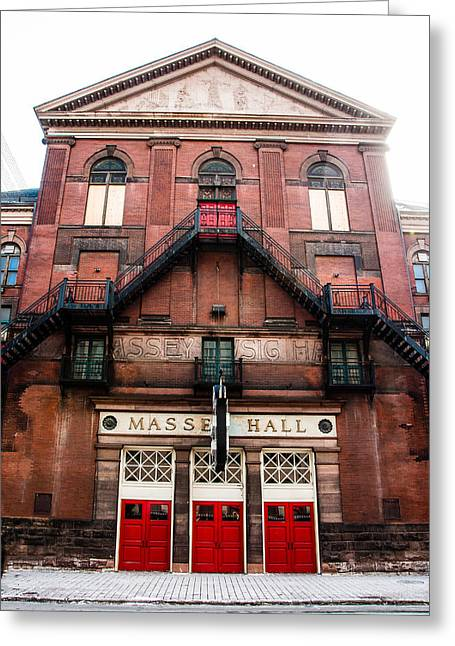 Red Doors Of Massey Hall - Front Facade - Colour Greeting Card