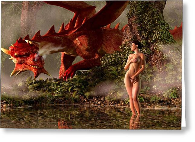 Red Dragon And Nude Bather Greeting Card