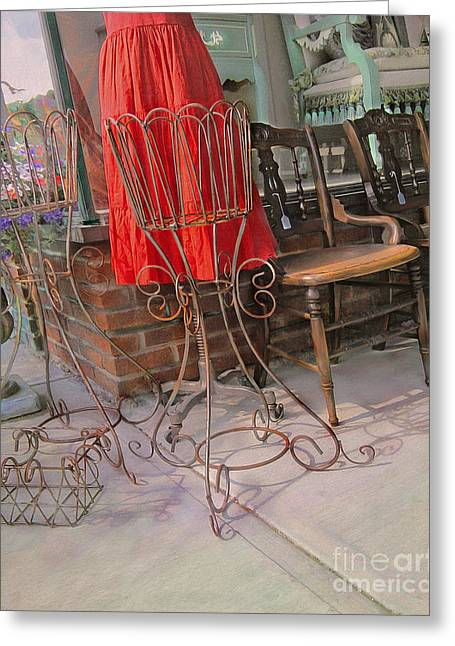 Red Dress In Vintage Storefront Greeting Card by CR Leyland