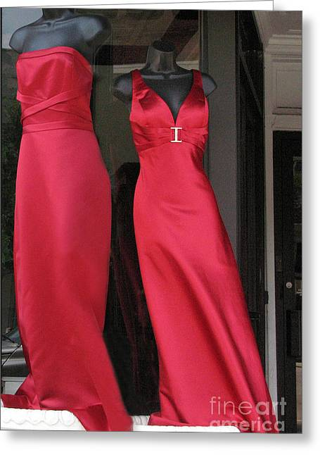 Red Dresses Mannequins - Pretty Red Dresses Fashion Decor Greeting Card