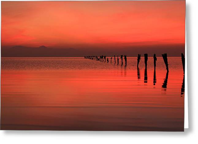 Red Dusk Sky  Greeting Card by Johnny Adolphson