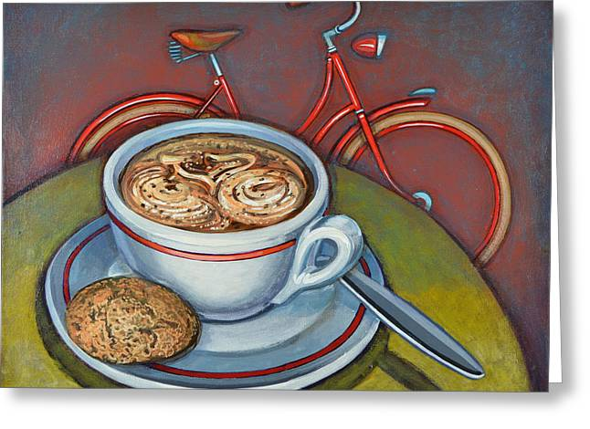 Red Dutch Bicycle With Cappuccino And Amaretti Greeting Card by Mark Jones